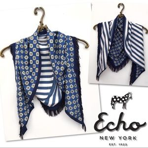 🆕 ECHO BLUE WHITE STRIPED PRINT TRIANGLE SCARF